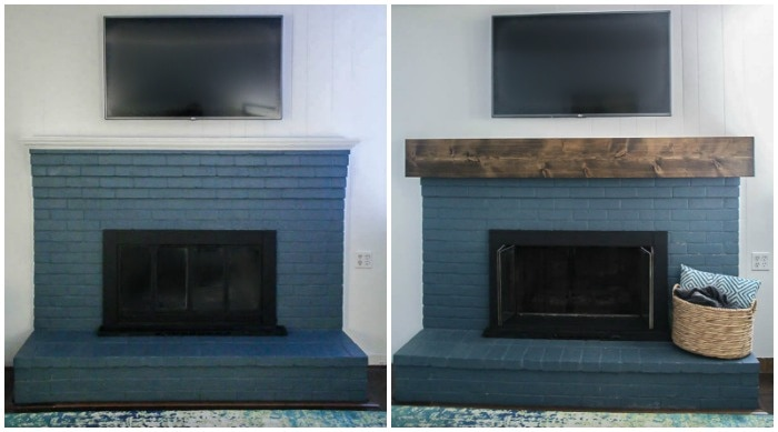 before and after of diy mantel