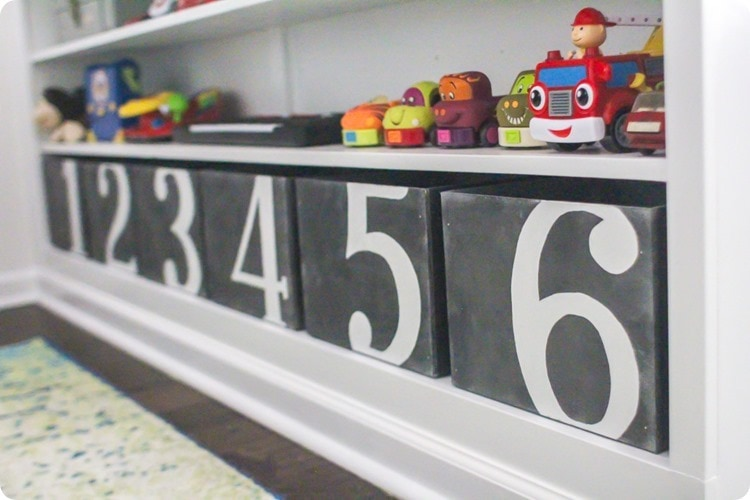 diy numbered wooden bins