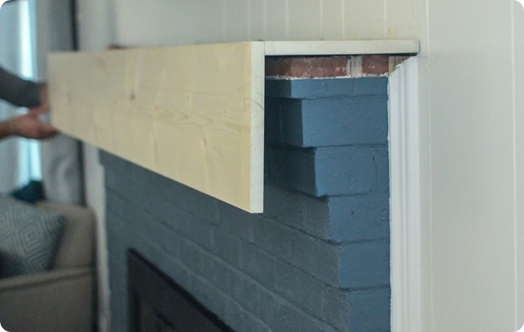 diy rustic fireplace mantel step one