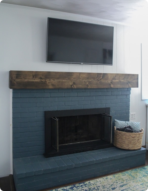 brick fireplace with simple diy fireplace mantel