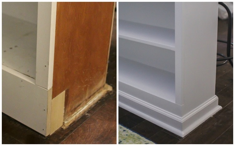 filling in the toe kick of cabinets