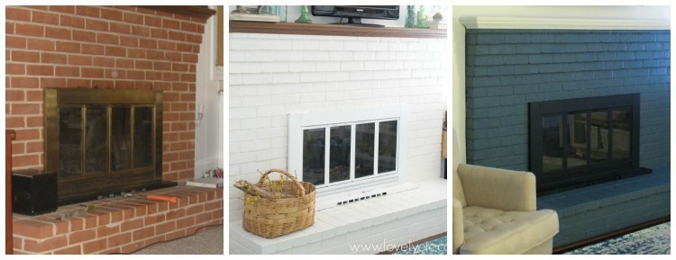 stages of a fireplace makeover