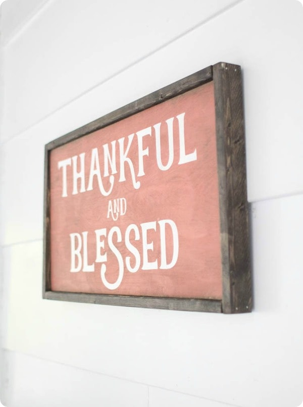 DIY thankful and blessed wood sign, tutorial and free cut file for Silhouette