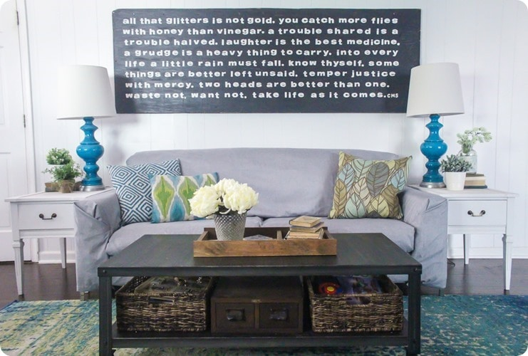 giant sign over couch