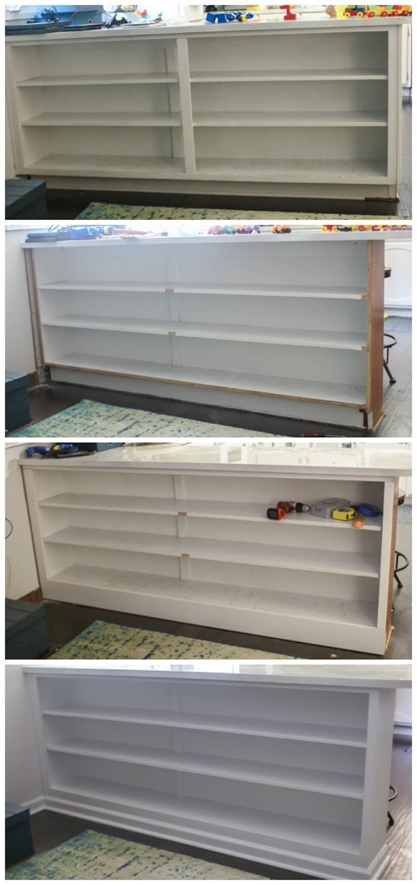 kitchen cabinets to built in shelves