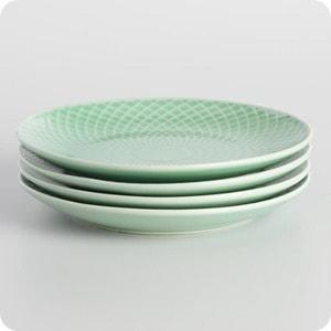 Mint Textured Stoneware Dinner Plates Set Of 4