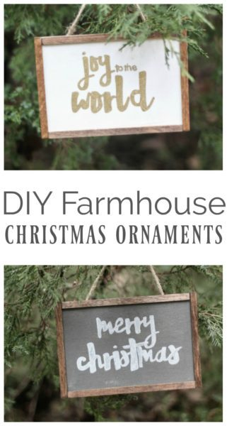 How to make cute DIY Farmhouse Christmas ornaments. These simple handmade ornaments look like mini painted wood signs an chalkboards.