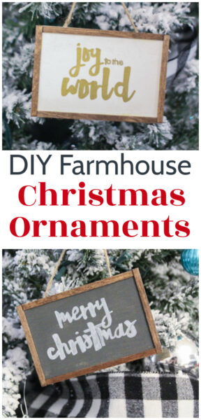 Love these DIY Farmhouse Christmas Ornaments! They are super quick and easy to make. You can customize whem with any saying or name you want or use the free printable patterns to quickly copy the samples.