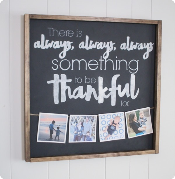 diy thankful sign with photos