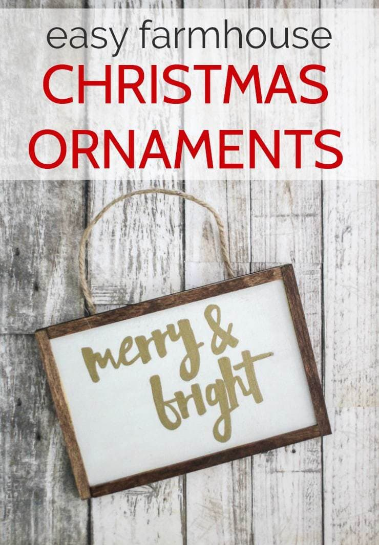Merry and bright Christmas ornament that looks like a mini farmhouse sign.