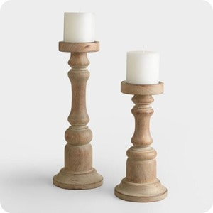 gray wood ella candleholder