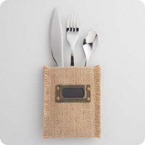 jute utensil pouches with labels