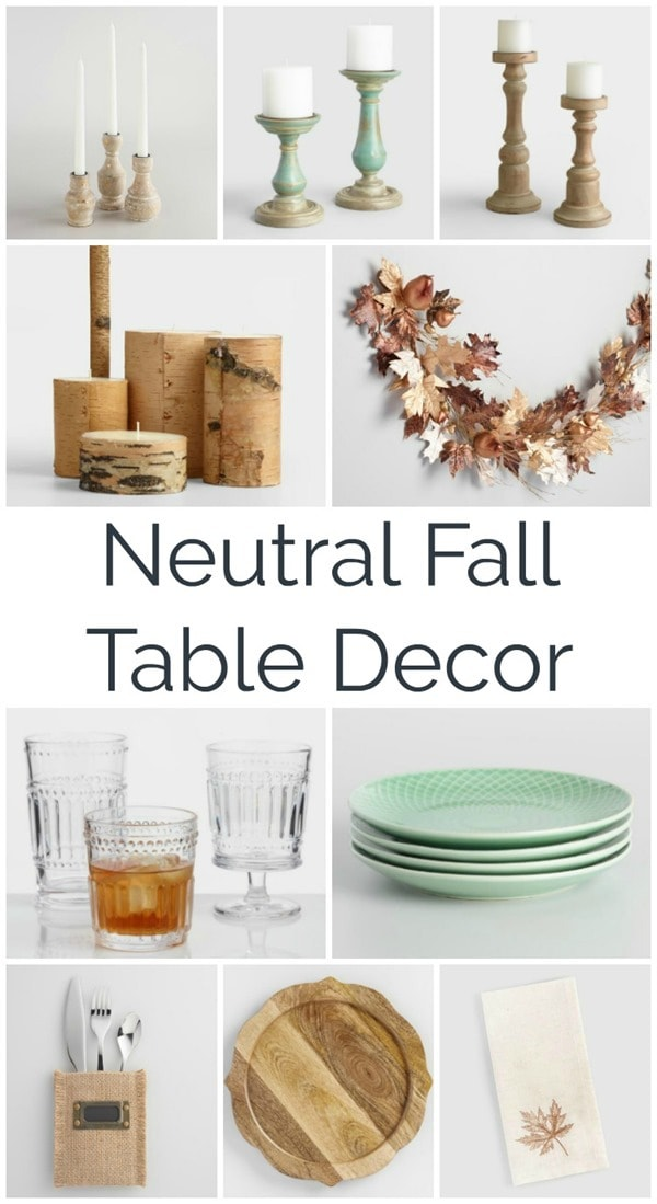 Beautiful neutral fall table decor. Add a farmhouse touch to your fall tablescape with natural wood, metallics, and a touch of blue.
