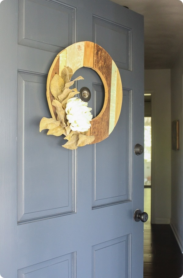 DIY rustic fall wreath on front door