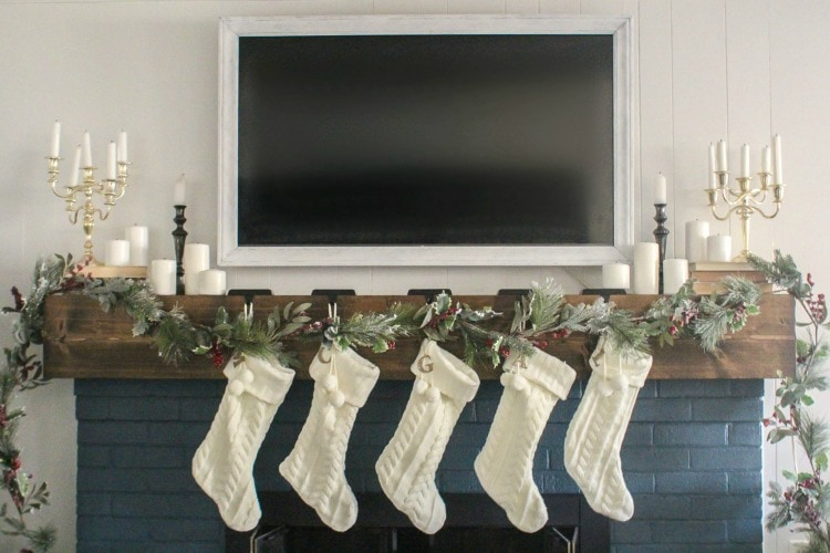 how to create a classic christmas mantel around an ugly tv lovely etc