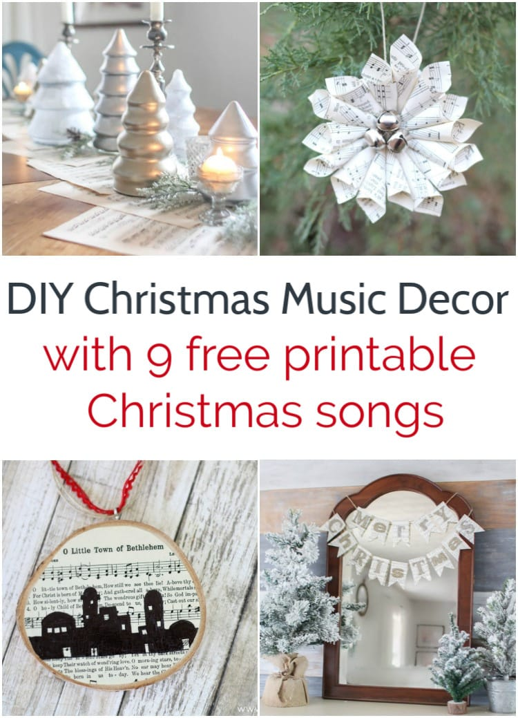 collage of diy Christmas decor made from Christmas sheet music