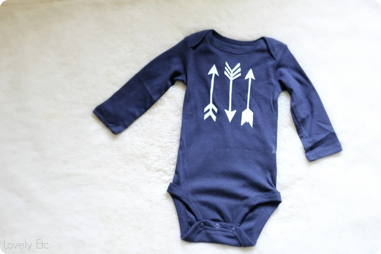 freezer paper stenciled arrow onesie