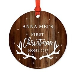 metal personalized gift first christmas ornament