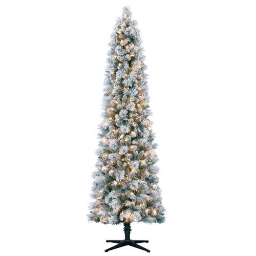 7 ft pre-lit flocked Christmas tree
