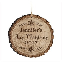 personalized wood baby's first christmas ornament