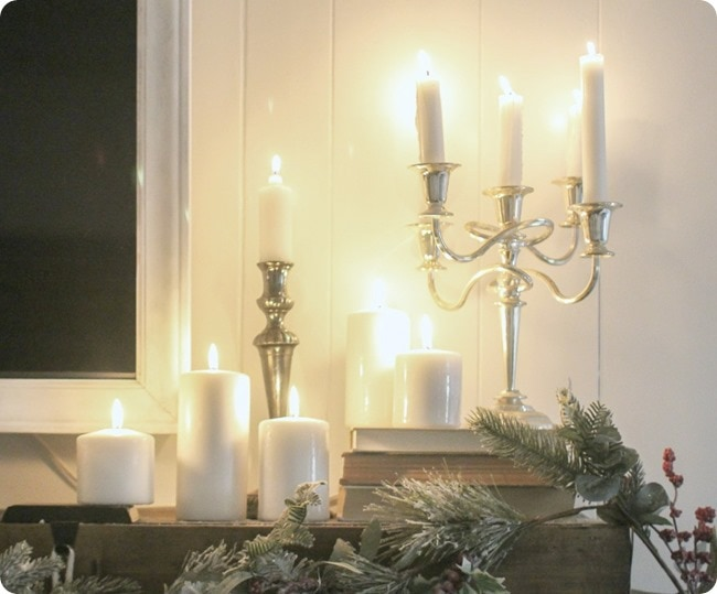 simple christmas mantel with candles