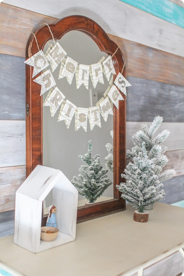 Simple diy christmas decor in entry with wood plank wall, diy merry christmas banner