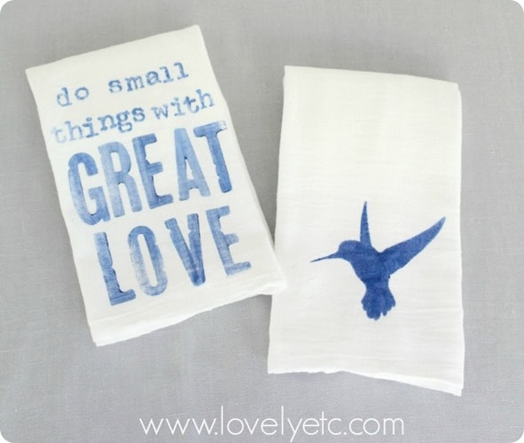 simple painted tea towels