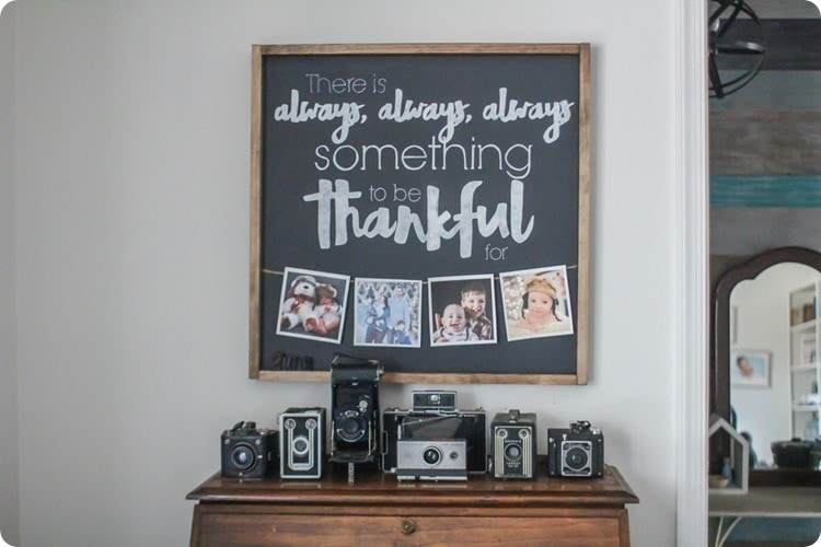thankful sign with photos