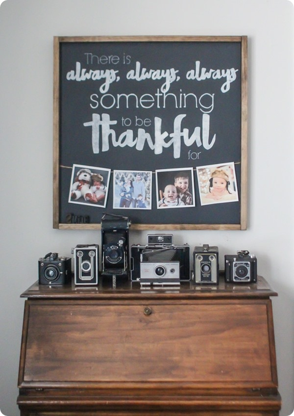 DIY thankful photo sign and vintage camera collection