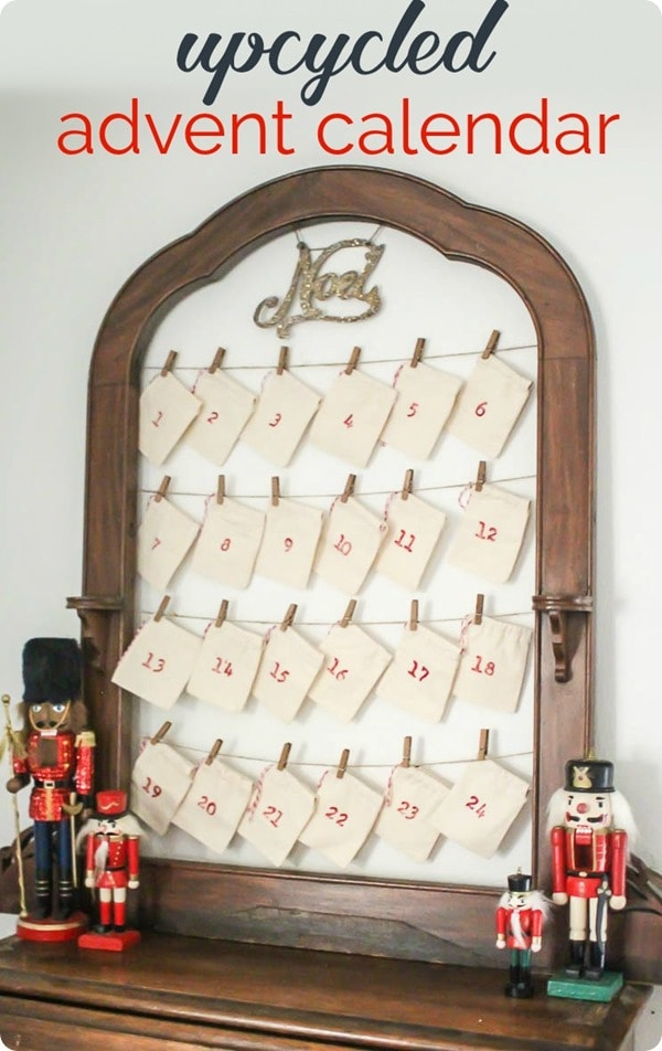 DIY reusable advent calendar shown on shelf with nutcrackers.