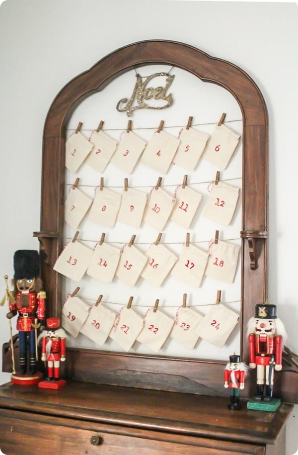 DIY reusable advent calendar shown on table with nutcrackers