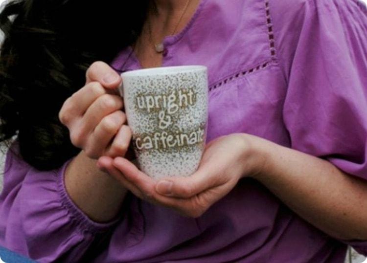 upright and caffeinated sharpie mug