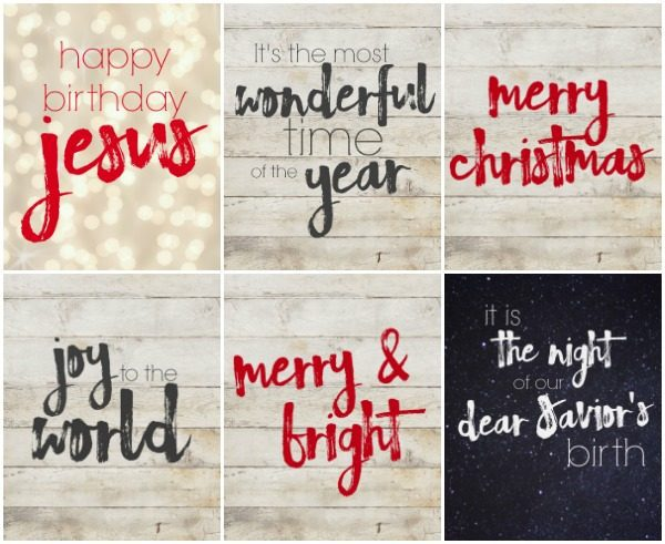 Six free Christmas printables.