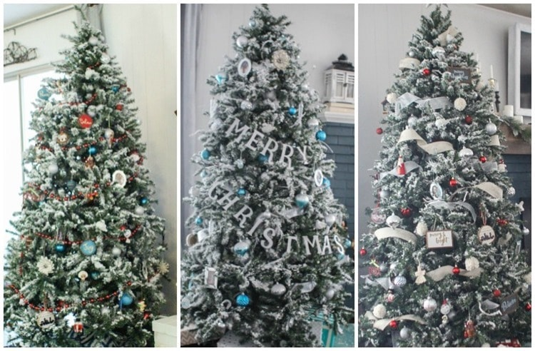 Christmas trees with different color themes