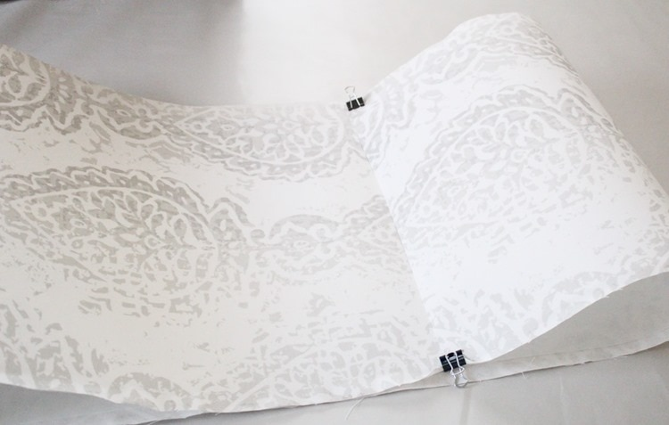 fold lampshade fabric into loop
