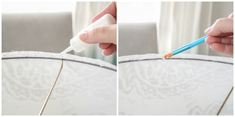 gluing lampshade