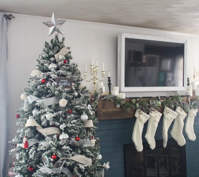 Red And White Christmas Tree With Stockings