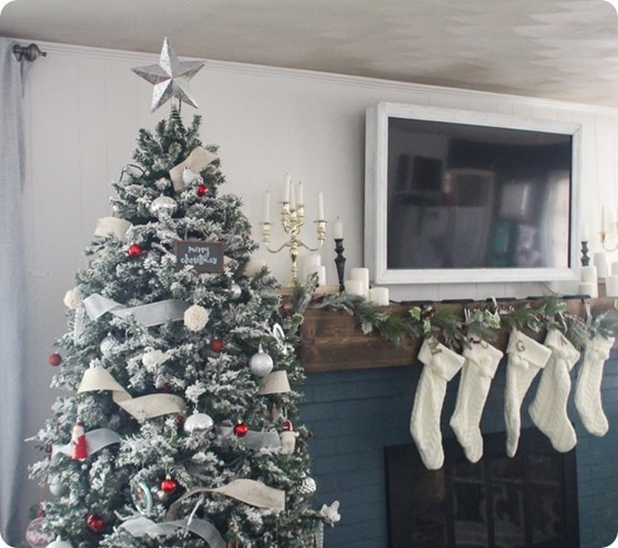 red and white Christmas tree with white stockings