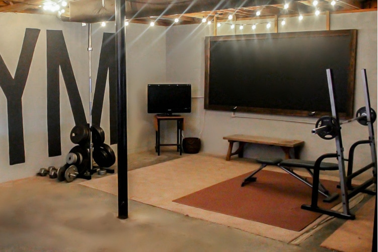 Creating A Home Gym In An Unfinished Basement On A 100 Budget Lovely Etc
