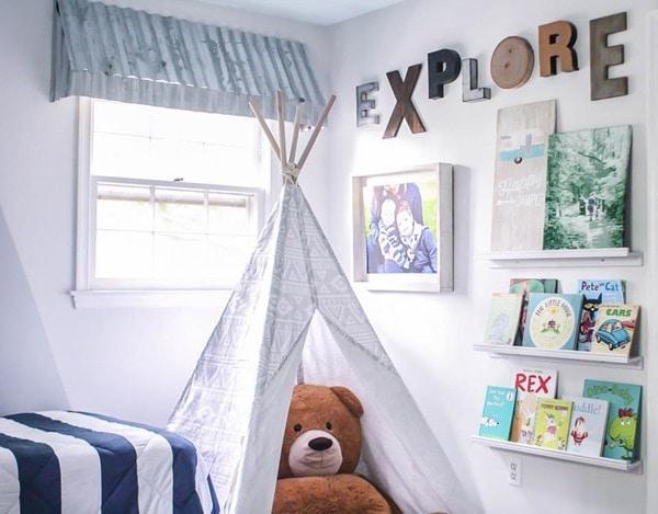 boys room with rustic window awnings, play tee pee, book ledges