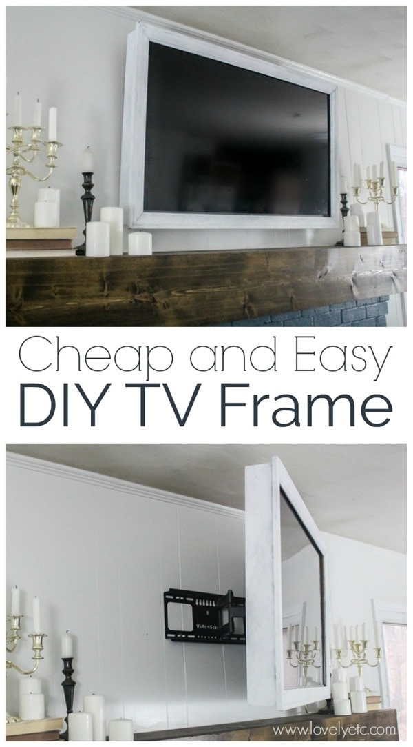 cheap and easy DIY TV frame shown hung over fireplace.
