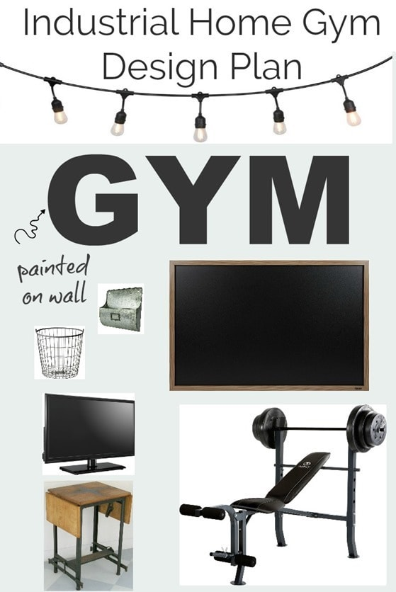 Industrial home gym design plan. Simple ideas to turn an unfinished basement or garage into a home gym for cheap.
