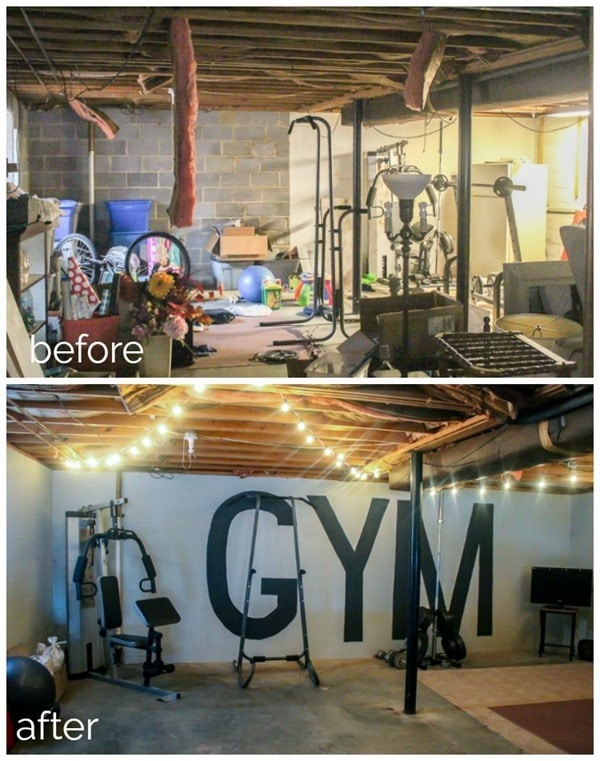 unfinished basement gym makeover