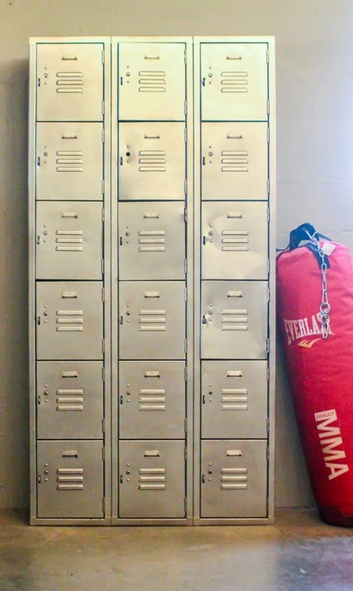 vintage lockers in home gym