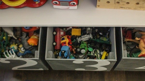 storing toys in diy wooden boxes