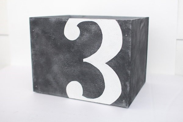 diy wooden box with number three on the front