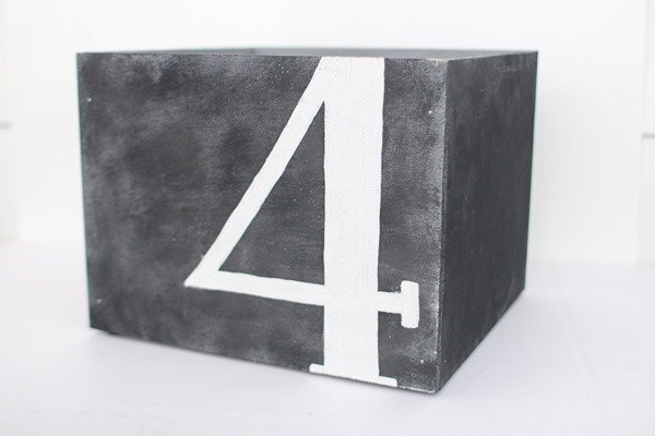 diy wooden box with number four on front