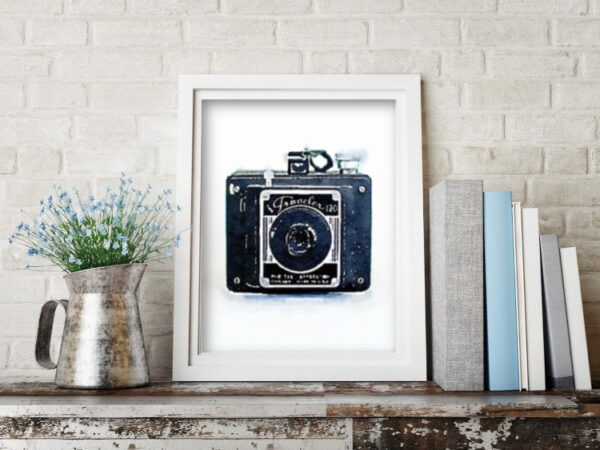 Watercolor vintage camera free printable art