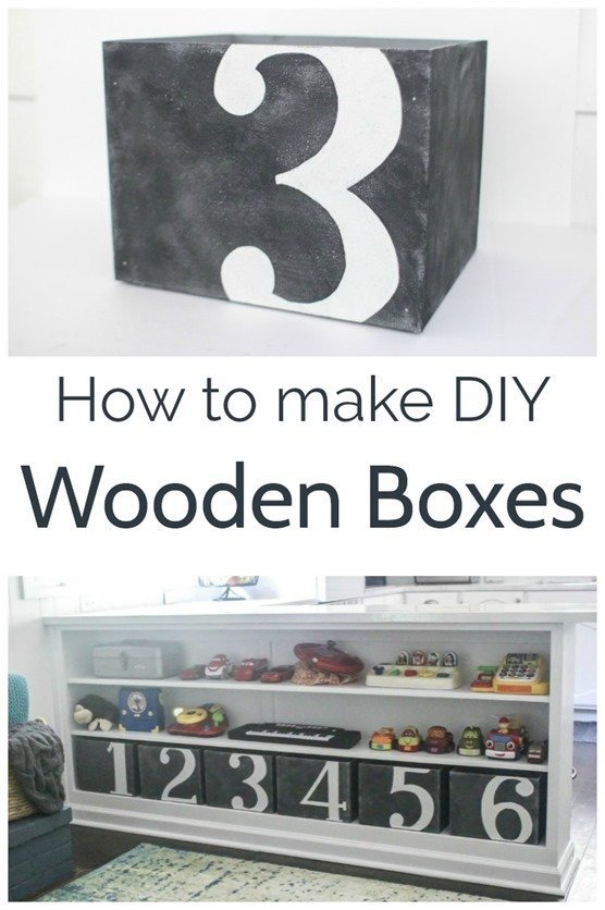 how to make wooden boxes - diy wooden boxes with painted numbers on the fronts