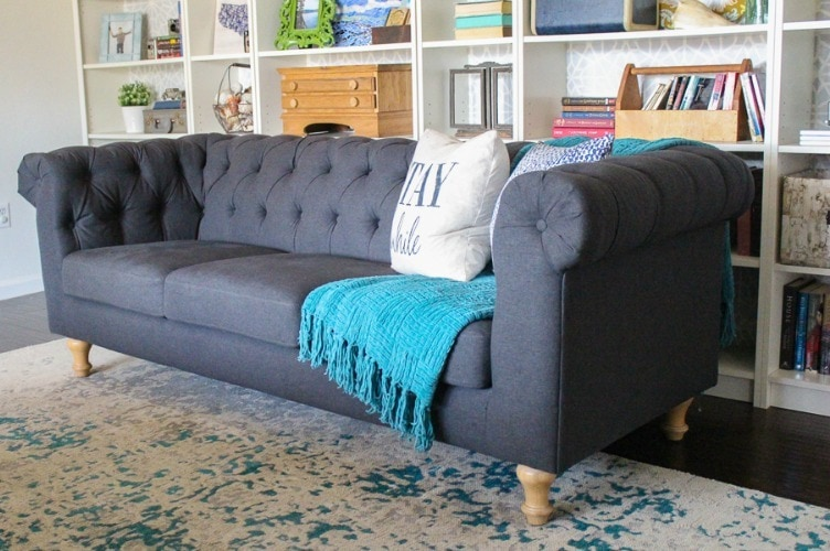 Beau Perfect Gray Tufted Sofa Chesterfield